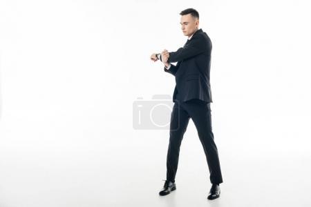 Photo pour Homme d'affaires en costume étirant les mains isolé sur blanc - image libre de droit