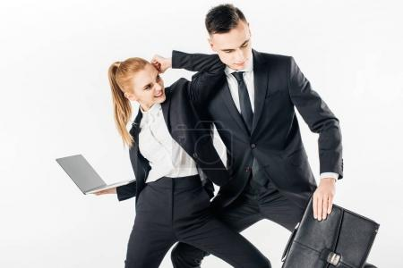 businesspeople in suits fighting isolated on white