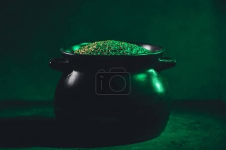 close-up view of pot full of gold, saint patricks day concept