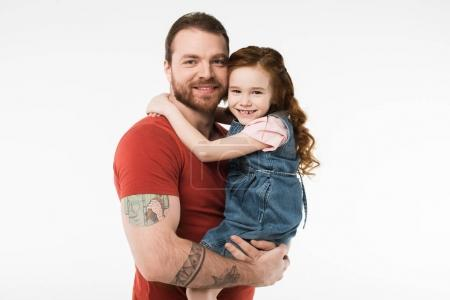 Little kid sitting in father hands isolated on white
