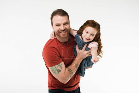 Smiling father holding daughter in hands isolated on white