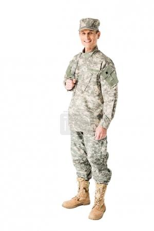 Smiling army soldier in uniform isolated on white