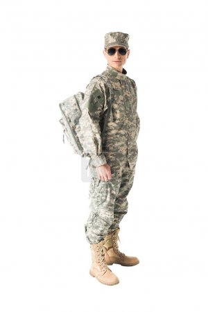 Army soldier wearing uniform and sunglasses isolated on white