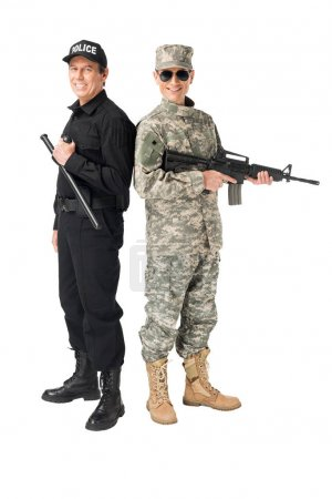Photo for Young soldier with gun and policeman with baton isolated on white - Royalty Free Image