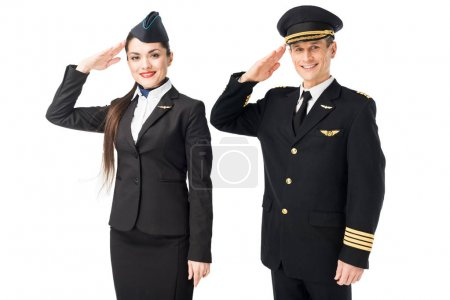 Airline captain and stewardess saluting isolated on white