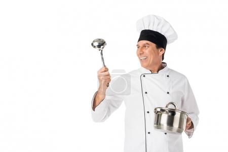 Man in chef uniform holding pan and ladle isolated on white