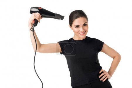 Professional hairdresser using blow dryer isolated on white