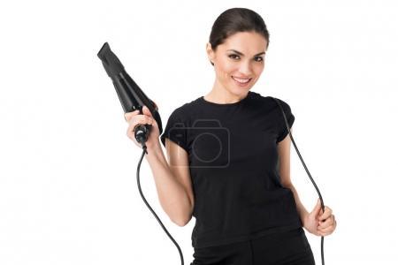 Photo pour Femme coiffeur avec sèche-cheveux isolé sur blanc - image libre de droit