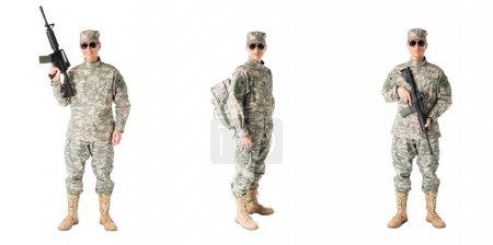 Photo pour Collage avec le soldat de l'armée en uniforme isolé sur blanc - image libre de droit