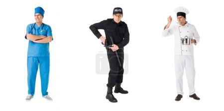 Photo pour Jeu de policier de professions masculines, chef et médecin isolé sur blanc - image libre de droit