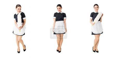Photo for Collage with professional maid in uniform isolated on white - Royalty Free Image