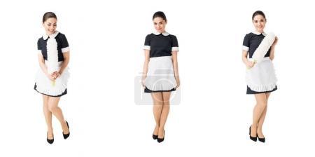 Photo pour Collage avec femme de ménage professionnelle en uniforme isolé sur blanc - image libre de droit