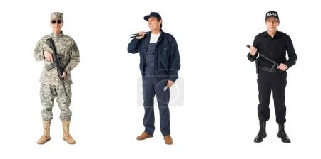 Collage with male professions soldier, policeman and plumber isolated on white