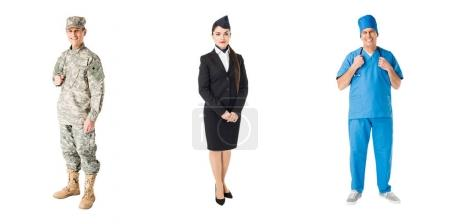 Set of professions soldier, doctor and stewardess isolated on white