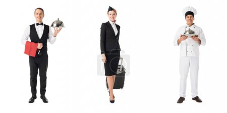 Collage with professions stewardess, chef and waiter isolated on white