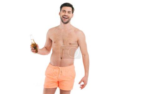 Smiling shirtless man