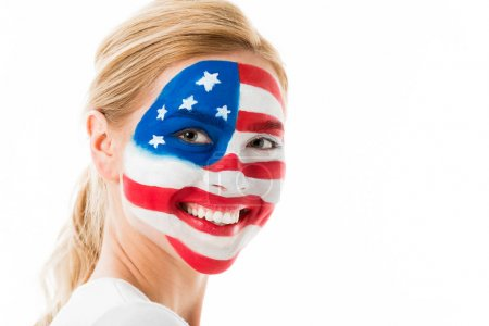 Blonde girl with usa flag makeup isolated on white