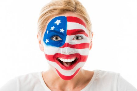 Excited woman with usa flag face paint isolated on white