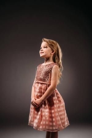 adorable princess in pink dress, isolated on grey