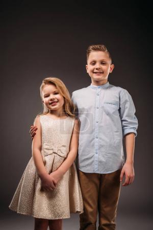 little elegant couple, on grey