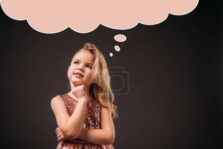 adorable thoughtful child in pink dress, isolated on grey with speech bubble