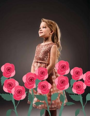 adorable princess in pink dress, isolated on grey with pink rose flowers illustration