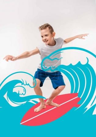 smiling boy pretending to be a surfer, with surfboard and sea waves illustration
