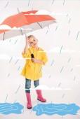 little child in yellow raincoat holding umbrella, rainy weather and puddles illustration