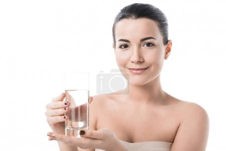 beautiful girl holding glass of water isolated on white