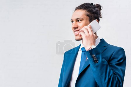 African american businessman talking on the phone