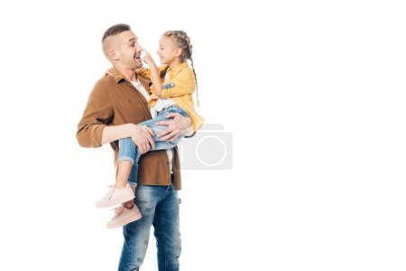 cheerful father holding little daughter in hands isolated on white