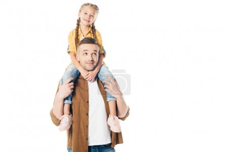 Photo for Portrait of father and smiling daughter piggybacking together isolated on white - Royalty Free Image