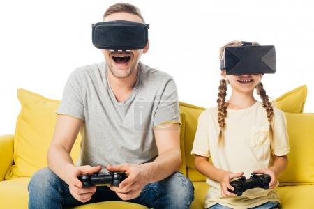 family with joysticks in virtual reality headsets playing video game isolated on white