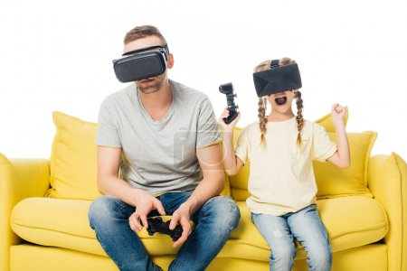 family in virtual reality headsets with joysticks playing video games isolated on white