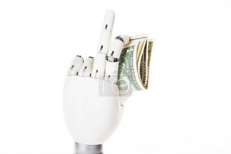 close-up view of robotic arm holding dollar banknotes isolated on white