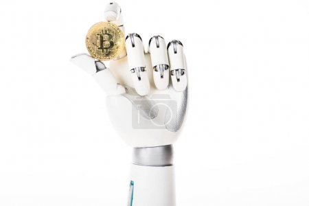 close-up view of robotic arm holding bitcoin isolated on white