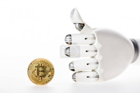 close-up view of bitcoin and robotic arm showing thumb up isolated on white