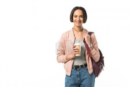 beautiful african american student with backpack holding coffee to go, isolated on white