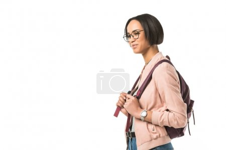 african american student with backpack,  isolated on white