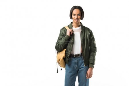 beautiful female african american student with backpack, isolated on white