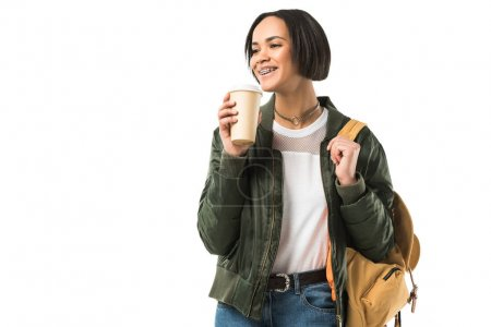 female african american student with backpack drinking coffee, isolated on white