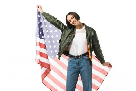 happy african american girl posing with united states flag,  isolated on white