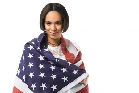 beautiful african american girl wrapped in usa flag,  isolated on white