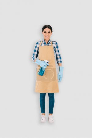 Photo for Top view of female cleaner in protective gloves with spray bottle isolated on white background - Royalty Free Image