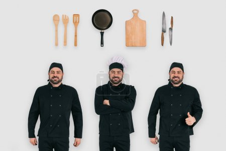 cook with thumb up gesture, chef with crossed arms and other cook with professional equipment, occupations concept