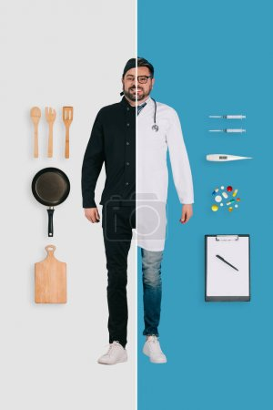 young man in two occupations of chef and doctor on different backgrounds
