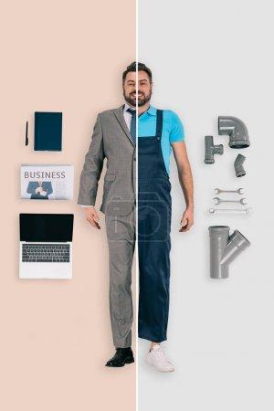 Photo pour Jeune homme dans deux professions de plombier et homme d'affaires d'origines différentes - image libre de droit