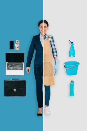 young woman in two occupations of cleaner and businesswoman on different backgrounds