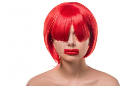 attractive woman with red hair and red lips in shape of rectangle isolated on white