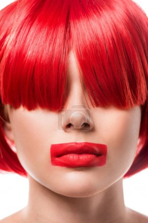 Photo for Beautiful woman with red hair and red lips in shape of rectangle isolated on white - Royalty Free Image